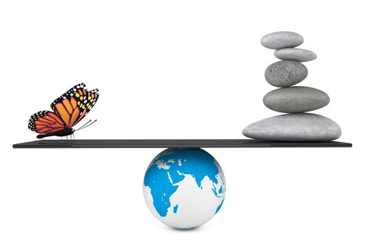 butterfly, pebbles and globe